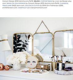 Trifold brass mirror