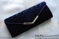 Midnight blue velvet clutch