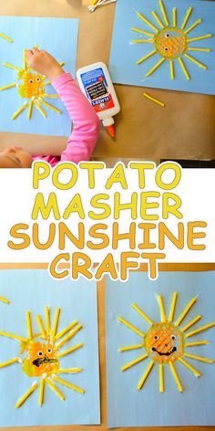 Potato Masher Sunshine Craft is part of Kids Crafts Summertime Toddler - A fun & easy sunshine craft you can do with your toddler or preschooler right now Make the Sun using a potato masher and straws! Summer Crafts For Toddlers, Art Activities For Toddlers, Summer Activities For Kids, Easy Preschool Crafts, Preschool Art, Preschool Activities, Weather Activities, Kids Crafts, Preschool Quotes