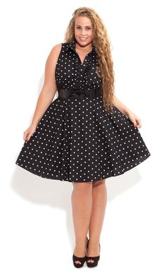 City Chic - Spotty Dotty Dress - Women's plus size fashion