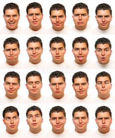 Useful facial expressions. Set of 20 useful facial expressions over white backgr , Human Reference, Anatomy Reference, Reference Images, Human Face Drawing, Human Art, Drawing Faces, Comic Sketch, Expression Challenge, Facial Expressions Drawing