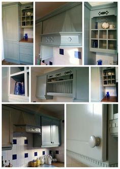 """Fabulous kitchen update using General Finishes Milk Paint in Persian Blue by @Cait Unites Unites Unites Whitson! They write, """"A lovely kitchen revamp. This is a kitchen we painted 15 years ago. It looked like it was maybe 5 years old when we went back but it was dated and needed a fresh look ....think we achieved that! General Finishes Persian Blue - lush and very hard wearing."""" General Finishes Milk Paint is available in stores across America and the UK, including Rockler & Woodcraft…"""