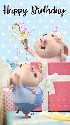 Happy birthday to you Happy Birthday Pig, Happy Birthday Greetings Friends, Birthday Icon, Happy Birthday Celebration, Birthday Wishes Messages, Happy Birthday Images, Cute Bunny Cartoon, Pig Wallpaper, Happy Birthday Wallpaper