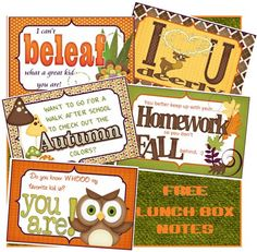 Free Fall and Autumn Lunchbox notes. These funny little notes are sure to make the school lunches special!