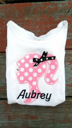 Girl pink polka dot silhouette with Barbie style by MunskerRoo, $25.00