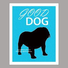 Bull Dog Art Print Dog Print Dog Poster Dog by PawsomeArtDesigns, $11.99