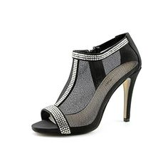 Caparros Ella Womens Size 7 Black Peep Toe Mesh Platforms Heels Shoes * To view further for this item, visit the image link.