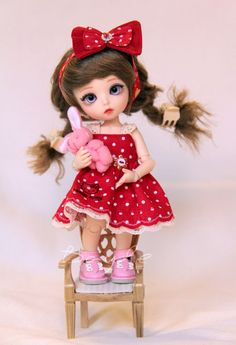 Red dots dress Lati Yellow Pukifee Aquariusdoll bjd doll 16 cm tiny outfit clothes