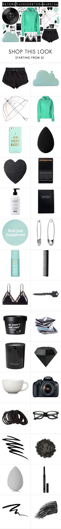 """""""Severe Thunderstorm warning"""" by canary-coronaries ❤ liked on Polyvore featuring H&M, Totes, The North Face, ban.do, beautyblender, Balmain, Banana Republic, Estée Lauder, GHD and LoveStories"""