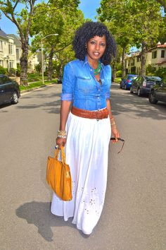 white maxi shirt with denim shirt -- and the hair. Love this whole look