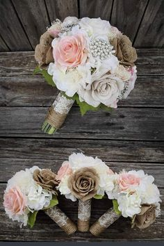 Rustic Burlap Wedding Bouquet with pearls and flowers. The mix of burlap flowers and pearl brooch with lace and twine handle create an elegant bouquet for a rustic country wedding. Elegant Country Rustic Wedding Ideas number 3. #rusticweddingideas #MyOnlineWeddingHelp #countrywedding #rusticbouquet