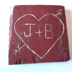 {LOVE} these personalized hand carved hearts!