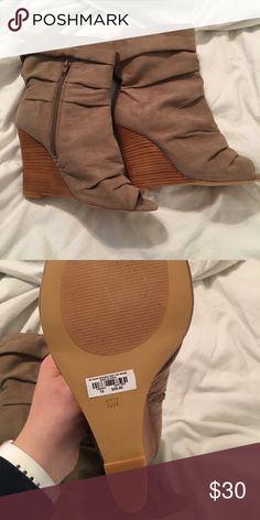 Torrid 10W tan booties- brand new Torrid 10 wide tan wedge peptoe booties- brand new! torrid Shoes Ankle Boots & Booties