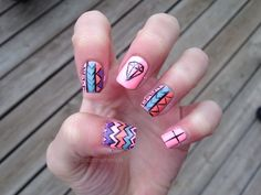 Spring tribal diamond nails