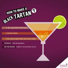 Black Tartan Recipe: 1 parts Kahlua coffee liqueur 1 part Irish Whiskey 1 part Johnnie Walker Black Label Scotch Whiskey Scotch Whiskey, Irish Whiskey, Cocktails, Drinks, Martinis, Cocktail Recipes, Drink Recipes, Traditional Scottish Food, Celtic Food