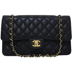 Pre-owned Chanel Black Quilted Caviar Classic Medium Double Flap Bag,... found on Polyvore featuring bags, handbags, shoulder bags, accessories, purses, handbags and purses, black quilted handbag, quilted chain strap shoulder bag, black purse and leather shoulder bag