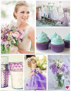 Purple and mint combine to create a most fabulous wedding inspiration including the yummiest of cupcakes and the most adorable flower girl in purple tulle.