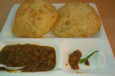 Chole Bhatura is a Punjabi meal recipe. Chole is made up of Chickepeas which is cooked in a thick spicy curry  while bhatura is made up of Maida  which is fermented  by adding curd and thus the bhatura is fluffy and  soft like bread.