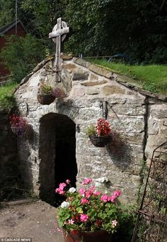 Tiny discovery: Bill Devereux found the tiny chapel when he was tidying up land near Wrexham in north Wales