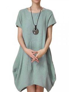 Loose Women Solid Color Irregular Linen Lantern Dress