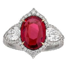 Untreated Ruby and Diamond Ring 3.02 Carat For Sale