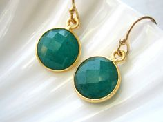 Emerald Bezel Set Gold Vermeil Drop Earrings - May Birthstone. $30.00, via Etsy.