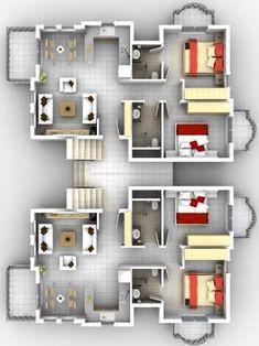 3d House Plans, House Layout Plans, Floor Plan Layout, Dream House Plans, Modern House Plans, Small House Plans, House Layouts, Small Space Interior Design, Home Room Design