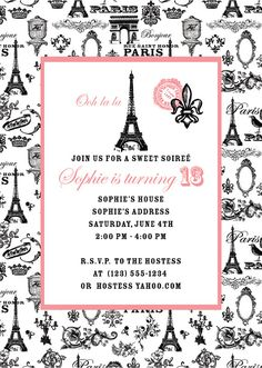 Paris Party Invitation Set of 10 Invitations por amymears en Etsy Paris Invitations, Birthday Invitations, Paris Sweet 16, Parisian Party, Paris Birthday Parties, Little Paris, Sweet 16 Parties, Girl Parties, Invitation Set