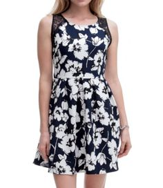 Textured Fit & Flare Floral Dress