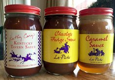 Louisville Foodie- Inspired Hostess Gifts 2015. La Peche's handmade sauces: Kentucky Tavern Sauce, Hot Fudge and Caramel