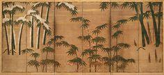 四季竹図屏風<br/>Bamboo in the Four Seasons - Artist: Attributed to Tosa Mitsunobu (1434–1525) Period: Muromachi period (1392–1573) Date: late 15th–early 16th century Culture: Japan Medium: Pair of six-panel screens; ink, color, and gold leaf on paper
