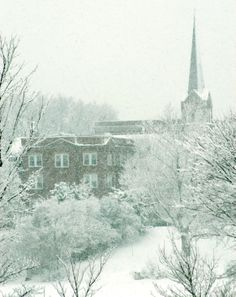 Old St. Joe's church in downtown De Pere covered in snow. Photo by Dennis Jensen