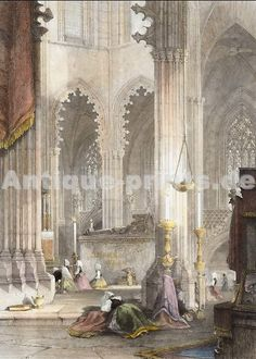 Monument of Don John, Batalha Portugal. Original steel engraving, engraved by W. Wallis after J. Holland. 1838. Very good condition. Hand-coloured. 14x10cm. Matted.
