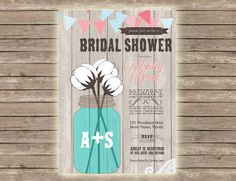 Mason Jar Rustic Chic Country Cotton Lace Bridal Shower Invitation!