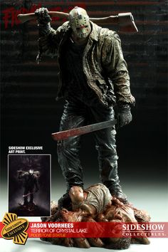 Sideshow Collectibles is proud to bring you the Jason Voorhees: The Terror of Crystal Lake Statue, depicting the legendary horror icon of the Friday the film series. Comic Movies, Scary Movies, Horror Movies, Jason Friday, Friday The 13th, Horror Action Figures, Statues, Marvel Dc, Cinema Tv