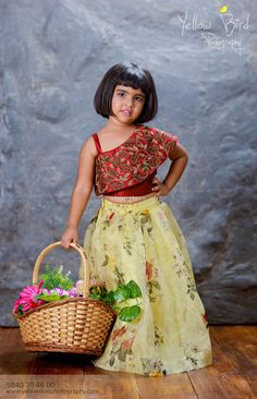 Indo-Western Kids' Wear With A Lovely Floral Theme! Baby Pageant Dresses, Baby Girl Party Dresses, Dresses Kids Girl, Girls Frock Design, Baby Dress Design, Kids Frocks Design, Party Wear Frocks Designs, Baby Frocks Designs, Kids Dress Wear