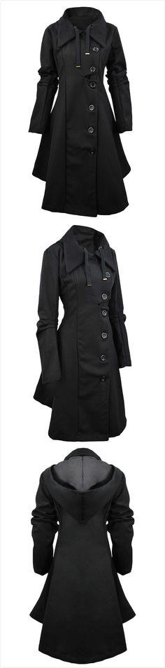 Azbro Women's Button Closure Asymmetrical Hem Black Cloak Coat
