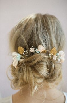 $160 Twigs & Honey Sweet Pea Set Of 3 Hairpins. Sweeten your updo with these romantic hairpins featuring meticulously hand-painted clay flowers and leaves wired together with sprays of luminous cultured freshwater pearls and glittering crystals.