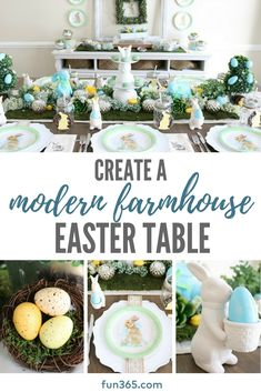 Create a beautiful modern farmhouse Easter table with these creative ideas. Shop this look and get DIY ideas at Fun365.com