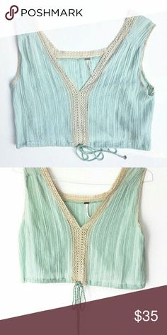Free People Mint Lace Tank In good condition. No major signs of wear. Size small. Smoke and pet free home. Ships within one day. Free People Tops Crop Tops