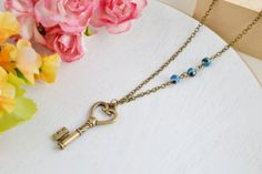 Key Necklace Skeleton Key Pendant Blue Agate Bridesmaid by KimFong, $18.00