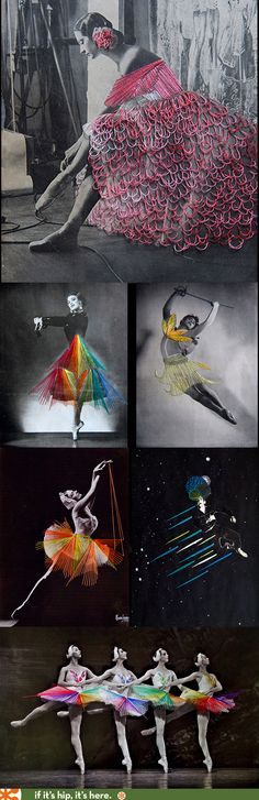 Technicolor Twinkle Toes. Embroidery on Vintage Photos of Dancers.