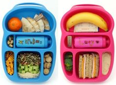 Im sometimes a bit out of the loop when it comes to the newest and coolest in lunchbox design, so these Goodbyn bento-style lunch carriers completely passed me by until now. How awesome are they? Forget the kids, I want one for myself. Lunch Box Bento, Cute Lunch Boxes, Lunch Snacks, Healthy Snacks, Lunch Foods, Bento Lunchbox, Healthy Kids, Toddler Meals, Kids Meals