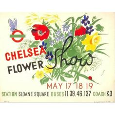 Photographic reproduction featuring 1939 'Chelsea Flower Show' Poster artwork by Klara