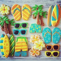 summer beach cookies by betsy Hawaiian Cookies, Luau Cookies, Summer Cookies, Galletas Cookies, Fancy Cookies, Iced Cookies, Cut Out Cookies, Royal Icing Cookies, Birthday Cookies