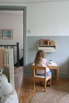 Half Painted Walls, Half Walls, Bedroom Color Schemes, Bedroom Colors, Girl Bedroom Walls, Colour Schemes, Two Tone Walls, Little Girl Rooms, Boy Rooms
