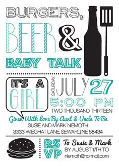 Baby Shower Invitation - Burgers, Beer & Baby Talk Shower Invite - $10 - Etsy - CWesterbuhr Westdesigns