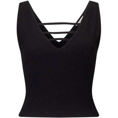 Black V Strap Rib Crop ($14) ❤ liked on Polyvore featuring tops, ribbed top, ribbed crop top, miss selfridge and crop top