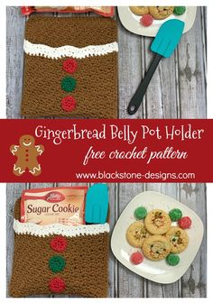 Gingerbread Belly Pot Holder free crochet pattern from Blackstone Designs  #Crochet #FreeCrochetPattern #Christmas #PotHolder #CrochetPotHolder #ChristmasCrochet #Kitchen #GingerbreadMan #GingerbreadCrafts #HolidayKitchen #HappyHolidays #forthekitchen #forchristmas