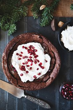 Fallen Chocolate Cake with Mascarpone Whipped Cream // The Little Red House